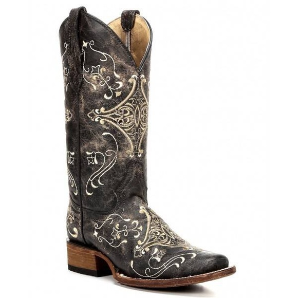 Circle G Shoes - New Circle G Brown Crackle Embroidery Cowgirl Boot